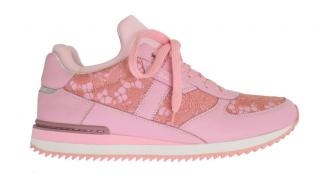 Dolce $ Gabbana Pink leather lace trainers sneakers