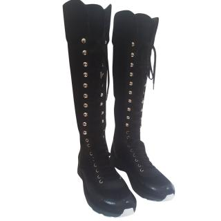 Chanel CC Logo Lace Up Knee High Sneaker Boots
