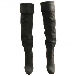Hermes dark grey thigh high suede boots