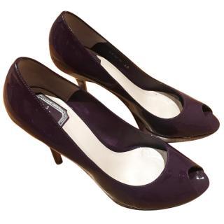 Christian Dior violet patent pumps