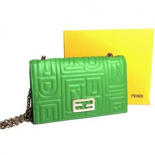 Fendi Logo Embossed Leather Wallet On Chain Mini Cross Body Bag