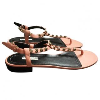 Balenziaga coral studded Sandals