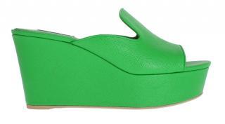 Dolce & Gabbana Green lizard print leather mules sliders
