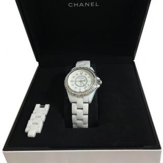 Chanel Diamond Bezel J12 White Ceramic Watch
