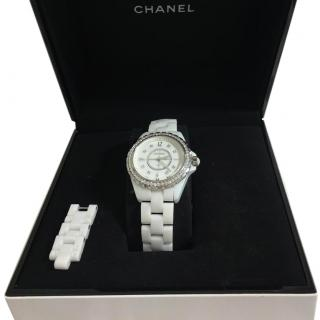 Chanel Diamond Bezel J12 White Ceramic Watch