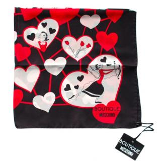 Moschino Hearts/olive Silk Scarf