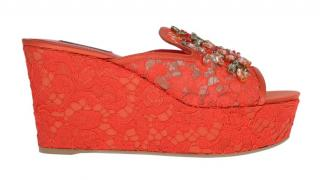 Dolce & Gabbana Red lace crystal embellished wedge mules