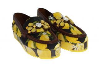 Dolce & Gabbana Lemon print embellished loafers