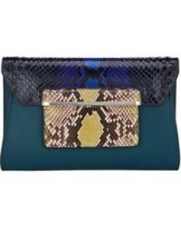 Mary Katrantzou python and leather textured clutch