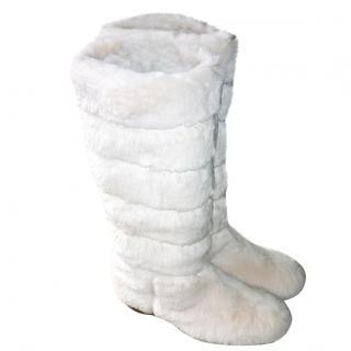 Jimmy Choo White Rabbit Fut Boots NEW