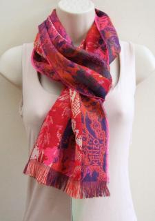 Kenzo wool & silk jacquard scarf