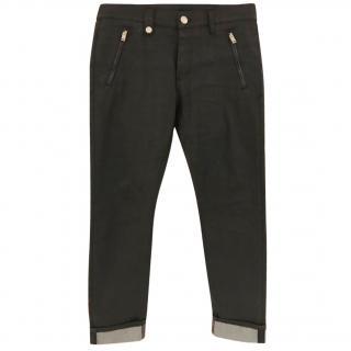 Alexander McQueen Black Slim Fit Waxed Denim Jeans