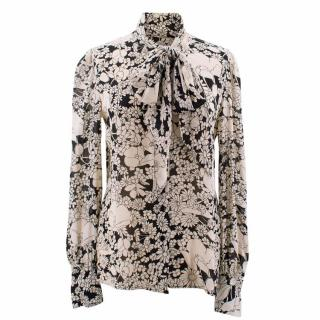 Saint Laurent Black and Cream Floral Shirt