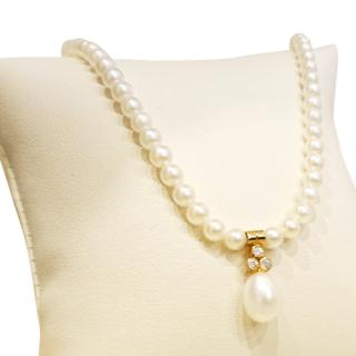 Pearl & Diamond Necklace 18ct Gold