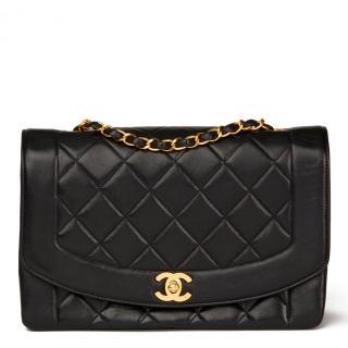 Chanel Black Quilted Lambskin Medium Diana Flap Bag