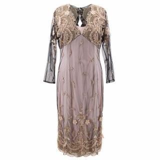 Ivan Montesi Lace and Sequins Midi Dress