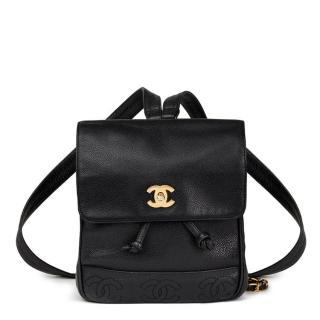Chanel Black Caviar Leather Vintage Timeless Backpack