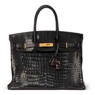 Hermes Black Shiny Porosus Crocodile Leather Birkin 35cm