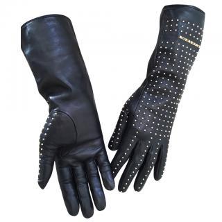 Burberry Prorsum  Black Studded Leather Gloves
