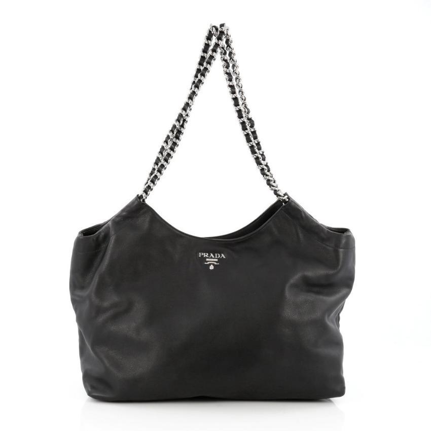1b4ba1fe91ba Prada Black Leather Chain Large Shoulder Tote Bag