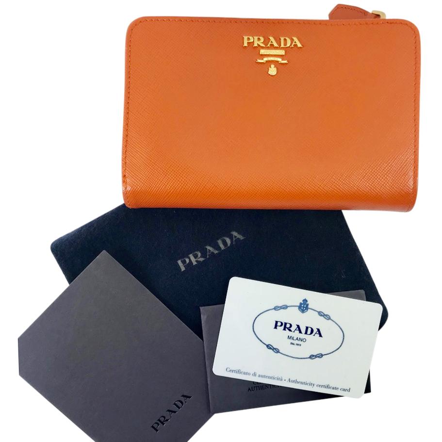 34c5429285df ... discount prada papaya saffiano wallet 6cb6d 02ff0