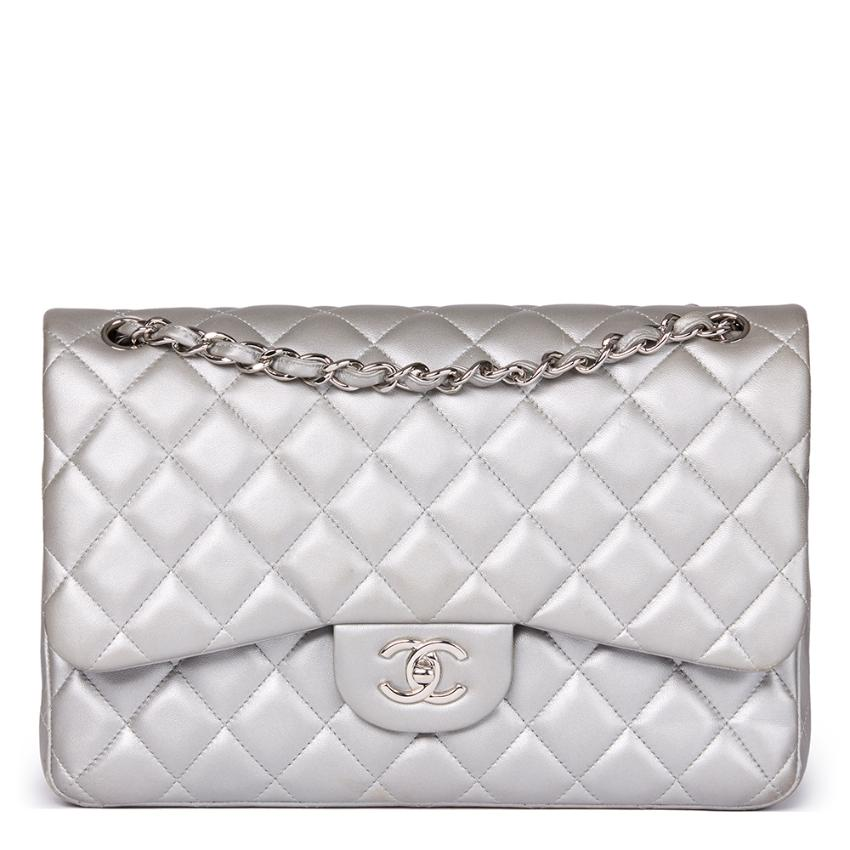 d9e5f3d4aac2 Chanel Classic Silver Metallic Quilted Lambskin Jumbo Double Flap ...