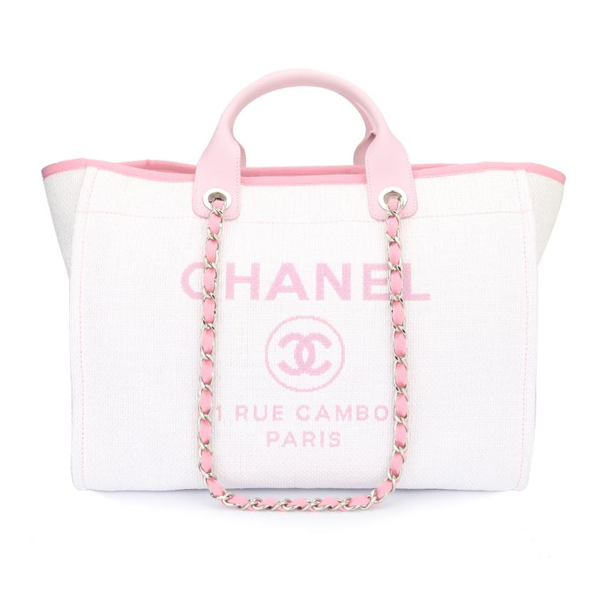 08ddcf0d9b15 Chanel Deauville Tote Large Pink Canvas | HEWI London