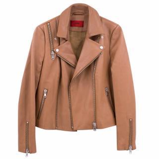 Hugo Boss Light Brown Biker Leather Jacket