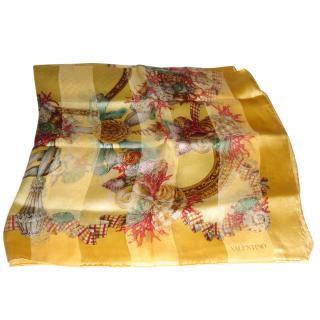 Valentino Yellow Silk Scarf