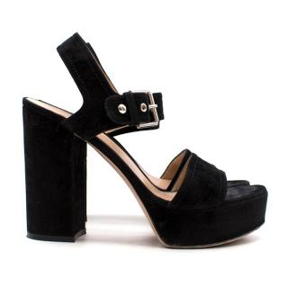 Gianvito Rossi Black Suede Platform Sandals