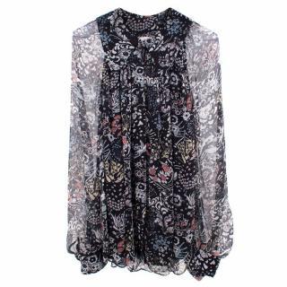 Chloe Floral Printed Silk Shirt