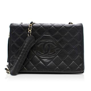 Chanel Vintage Quilted Black And Silver Bag