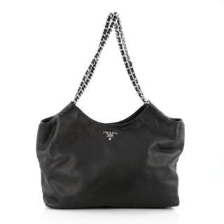 PRADA Black Leather Chain Large Shoulder Tote Bag