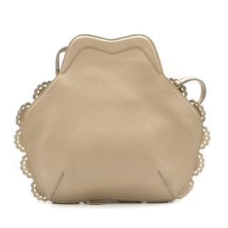 Simone Rocha Scalloped Beige Leather Shoulder Bag