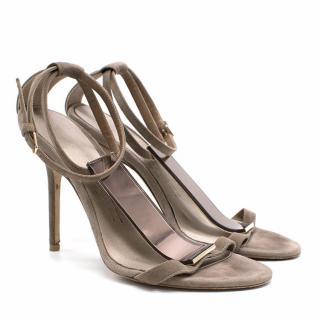 Burberry Prorsum Grey Suede Heeled Sandals