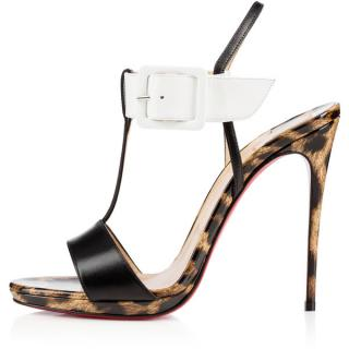 Christian Louboutin Beltega Black/ White/ Leopard Stilletos