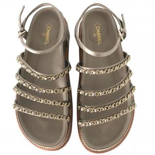 Chanel flat chain sandals