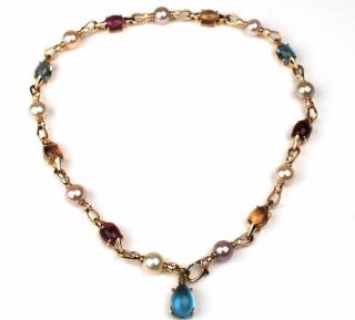 Bvlgari pink tourmaline, citrine, blue topaz, ahoy pearls and diamonds