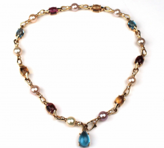 Bvlgari pink tourmaline, citrine, blue topaz, ahoy pearls and diamonds