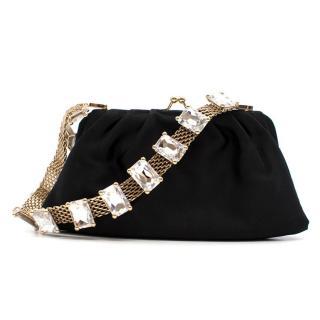 Valentino Black Embellished Satin Clutch Bag