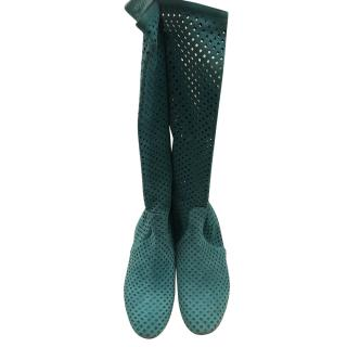 Casadei Turquoise Perforated Boots