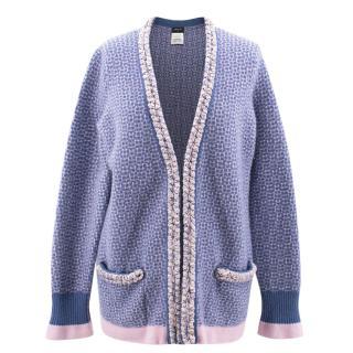 Chanel Blue/Pink Cashmere Cardigan