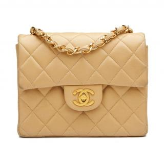 Chanel Beige Lambskin Vintage Mini Flap Bag