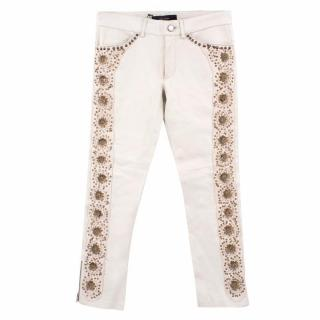 Isabel Marrant Embroidered Cream Leather Trousers