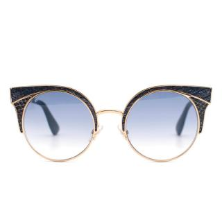 Jimmy Choo Metal Framed Cat Eye Sunglasses with Snakeskin Detail