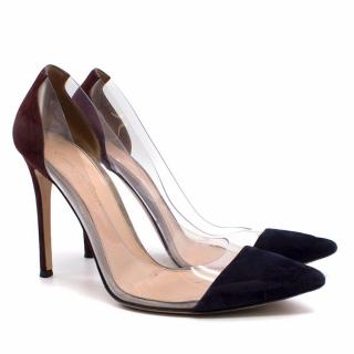 Gianvito Rossi Plexi 100 Suede PVC Black and Burgundy Pumps