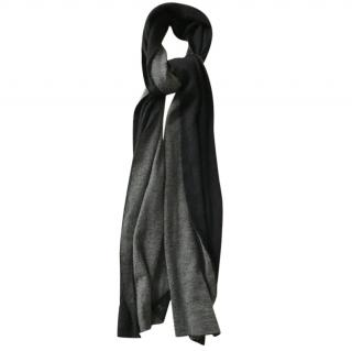 Hermes Grey and Black Cashmere Scarf