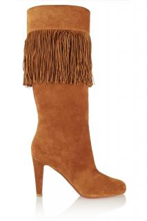 Christian Louboutin Tan Fringed Suede Boots 37.5 UK 4.5