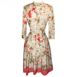 Oscar de la Renta Floral-Print Faille Shirt Dress UK 12 US 8