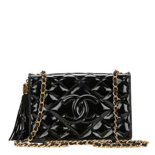 Chanel Black Quilted Patent Leather Vintage Flap Bag